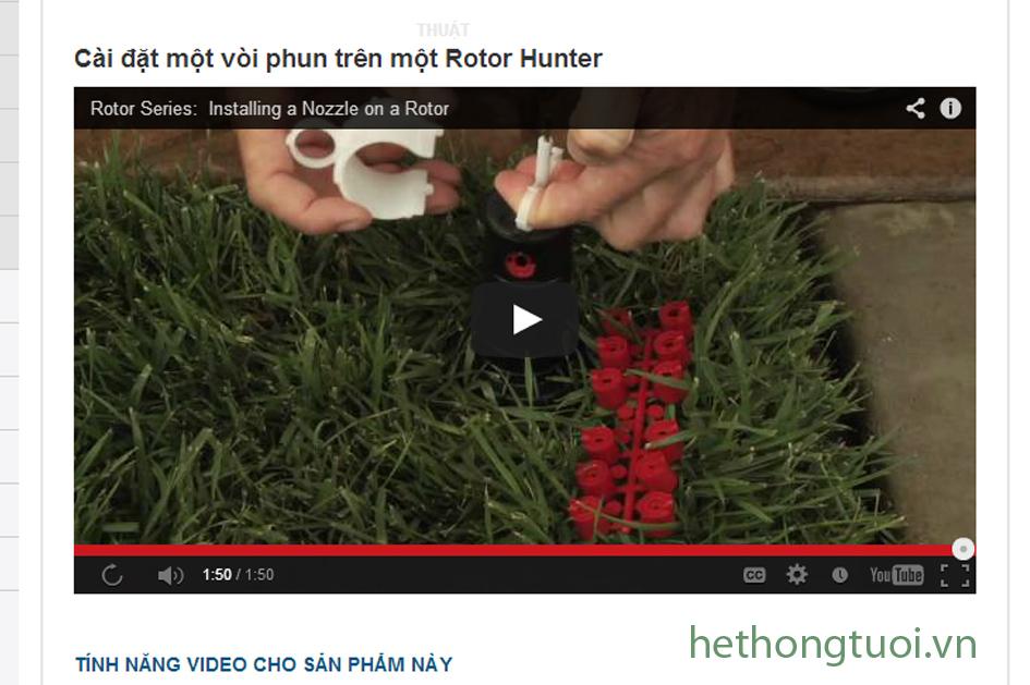 cài đặt vòi phun Rotor Hunter